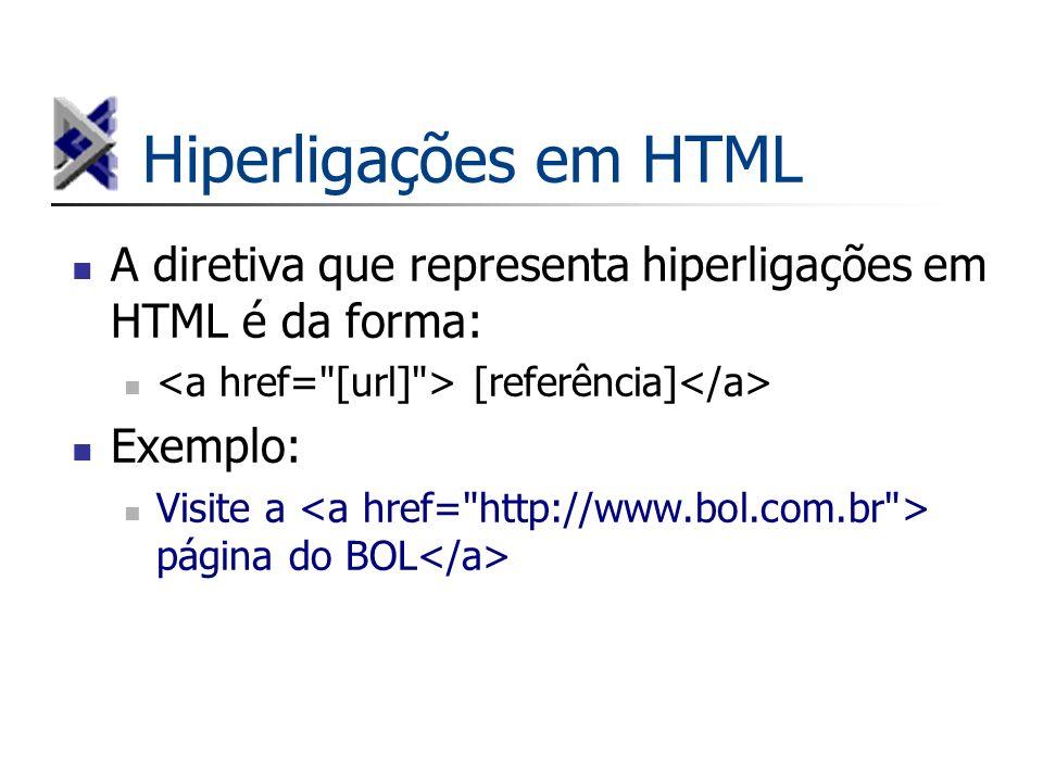 Hiperligações em HTML A diretiva que representa hiperligações em HTML é da forma: <a href= [url] > [referência]</a>